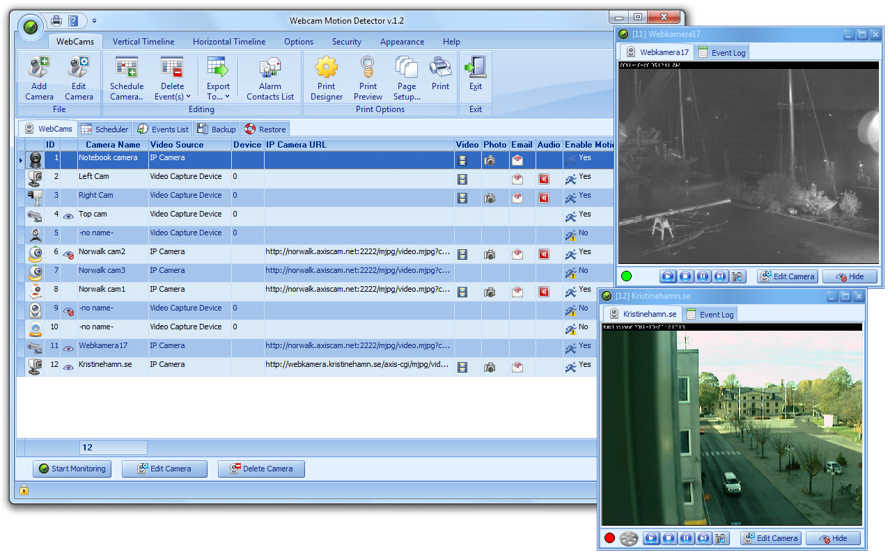 Motion detection and webcam monitoring software.