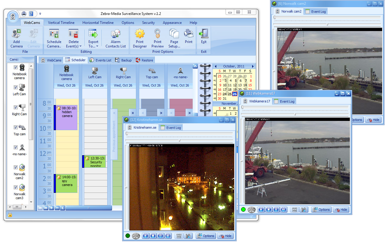 Video surveillance & motion capture system. Supports unlimited number of cameras
